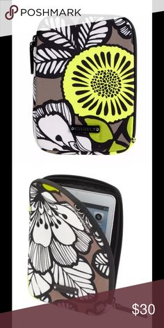 """Vera Bradley Neoprene Medium Tablet Sleeve Citron Vera Bradley Neoprene Medium Tablet Sleeve  13050 6"""" W x 8½"""" H x ¾"""" D Protect your tech! This case is a perfect fit for most mini tablets. It looks great alone, but also fits nicely into your favorite handbags and totes. Details  Designed for smaller tablets, including the iPad® mini and Kindle® Sleek exterior features an oversized Signature print Logo lining Unique L-shaped opening with logo zipper pull for easy accessibility Logo plaque…"""