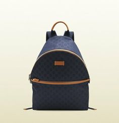 27d6a6a4e94 Only  226 Cucci Medium Blue Nylon Guccissima Backpack