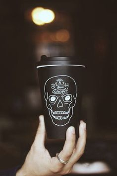 skull death decaf coffee thermos black grunge white black and white cute fancy silver ring hipster mug travel mug
