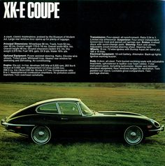 Classic Cars : Illustration Description 1970 Jaguar XK-E Coupe Jaguar Xk, Jaguar E Type, Jaguar Cars, British Sports Cars, British Car, Car Advertising, Vintage Ads, Cars And Motorcycles, Cool Cars