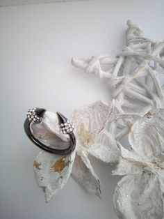 Black  plated,open wrap,adjustable ring with white shinning stones. by polasoeljewelry on Etsy