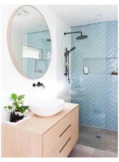 Blue Bathrooms Designs, Grey Bathrooms, Modern Bathroom, Master Bathrooms, Blue Bathroom Tiles, Bathroom Accents, Bathroom Sinks, Bathroom Fixtures, Small Bathroom Ideas Uk