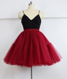 5 Layers Tutu Tulle Skirt Vintage Midi Pleated Skirts Lolita Petticoat Bridesmaid Wedding Faldas Mujer Saias Jupe Size One Size Color Mauve Long Maxi Skirts, Pleated Midi Skirt, Red Skirts, Tutu Skirts, Red Tutu Skirt, Tulle Dress, Tulle Tutu, Prom Dress, Tulle Skirt Tutorial