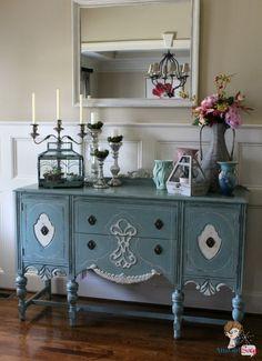 Atta Girl Says: Handpainted Duck Egg Blue Chalk Paint Buffet in Foyer