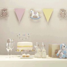 teddy and rocking horse bunting for baby shower and childrens birthdays