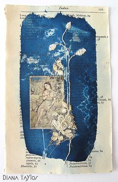 Diana Taylor : Midnight Garden Collage - embroidery on cyanotype printing with Japanese stamp Art Du Collage, Mixed Media Collage, Art Textile, Textile Artists, Japanese Stamp, Sun Prints, Alternative Photography, Collages, Cyanotype