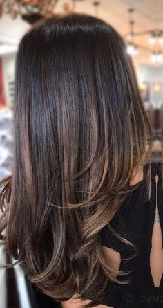 Subtle brunette bayalage ombré on dark brunette