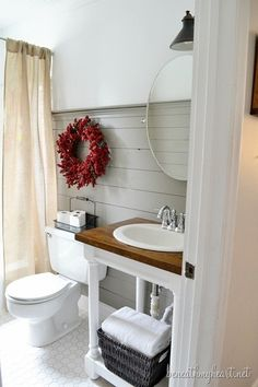 Clapboard wall and butcher block vanity - so serene. My House Tour | Beneath My Heart