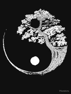 Yin Yang Bonsai Tree Japanese Buddhist Zen by PlistshirtsYou can find Tattoo drawings and more on our website.Yin Yang Bonsai Tree Japanese Buddhist Zen by Plistshirts Kunst Tattoos, Bild Tattoos, Body Art Tattoos, Tattoo Drawings, Art Drawings, Sleeve Tattoos, Yoga Tattoos, Yin Yang Tattoos, Tatoo Ying Yang