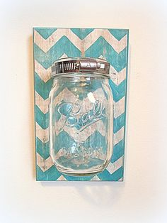 Reclaimed Wood Chevron Mason Jar Wall Sconce by Country Akers, Etsy