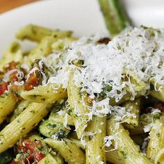 This Easy Pesto Pasta Dish Is Perfect For A Week Night Dinner Sesh