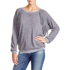 Nation LTD Womens Fringe Long Sleeves Pullover Top