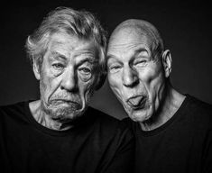 """Ian McKellen (""""I can't get back into the closet, because it's absolutely jam-packed full of other actors"""" ) and Patrick Stewart (""""I wouldn't know a space-time continuum or warp core breach if they got into bed with me"""") Patrick Stewart, Chuck Norris, Gandalf, Xmen, Faces Film, Bff, Sir Ian Mckellen, Happy 80th Birthday, Funny Animals With Captions"""