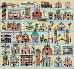This illustrated map of Venice by Anna Simmons would make incredible wrapping paper!