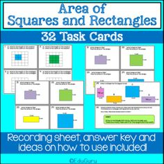 Area of Squares and Rectangles Task Cards Math Activities, Teacher Resources, Secondary Math, Cooperative Learning, Self Assessment, Fifth Grade, Activity Centers, Elementary Math, Task Cards