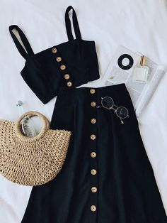 Surely there isn't a sweeter treat than the Sweet as Ever Black Two-Piece Midi Dress! Two-piece dress with a button-front crop top and midi skirt. Mode Outfits, Casual Outfits, Fashion Outfits, Womens Fashion, Fashion Trends, Trending Fashion, Fashion Clothes, Latest Fashion, Fashion Ideas