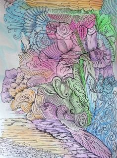Zentangle Inspired In the Garden watercolor pen & by Megadesignz on etsy, $34.00