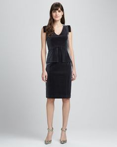 Black Halo Keyton Velvet Peplum Dress - Neiman Marcus