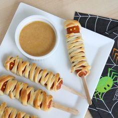 Halloween Party Food - Crescent Mummy Corn Dogs With Homemade BBQ Honey Mustard Sauce