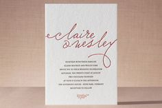 """Love Letter"" - Vintage, Elegant Letterpress Wedding Invitations in Cherry by annie clark."