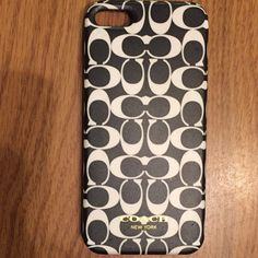 Authentic coach iPhone 5 case Used. 1 scuff/damaged spot as shown in 4th picture. Otherwise good condition! Coach Accessories Phone Cases