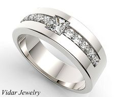 Unique Wedding Band For Men,Diamond Wedding Ring,Diamond Wedding Band For A Men,Princess Cut Mens Ring,Custom Ring For Mens,Wedding Ring by Vidarjewelry on Etsy