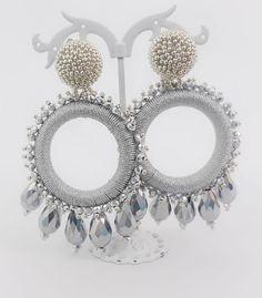 Carmen Silver Threaded and Beaded Earrings Silk Bangles, Silk Thread Earrings, Thread Jewellery, Soutache Jewelry, Ear Jewelry, Jewelry Making, Funky Earrings, Beaded Earrings, Earrings Handmade
