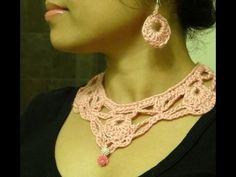 Part 1: How to crochet a lace necklace and a pair of earrings by ArtsnCraft4u