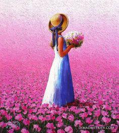 Çiçek Yağlı boya kız