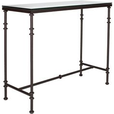 An adaptable glass console table that would work beautifully as a modern bar. It is narrow enough to work comfortably in a small living room, hall, or dining room and will give valuable extra surface space wherever it is used. Toughened glass top. Tubular metal frame. A larger version is also available.