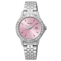 Seiko SUR863 Women's Pink Dial Steel Bracelet Swarovski Crystal Watch