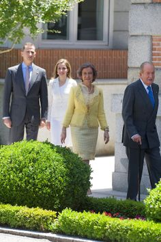 (R-L) Spanish King Juan Carlos, Queen Sofia, Crown Prince Felipe and Crown Princess Letizia attend a Lunch with Presidente of United States of Mexico at Zarzuela Palace, 09.06.2014 in Madrid