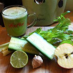 Celery, Cucumber and Lime Juice #detox #recipe #greenjuic