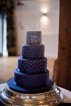 Blue wedding cake with white icing and sparkly silver letter topper. Blue Wedding Cupcakes, Navy Blue Wedding Cakes, Dusty Blue Weddings, Fall Wedding Cakes, Beautiful Wedding Cakes, Beautiful Cakes, Bolo Paris, Galaxy Cake, Silver Cake