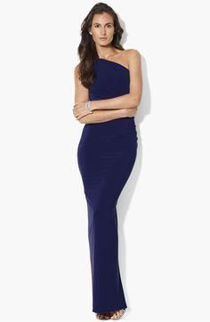 Lauren Ralph Lauren Embellished One Shoulder Matte Jersey Gown available at Nordstrom    super simple