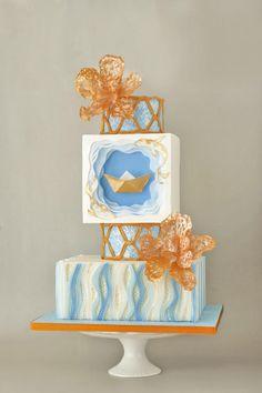 Origami Boat wedding cake by ArchiCAKEture - http://cakesdecor.com/cakes/275905-origami-boat-wedding-cake