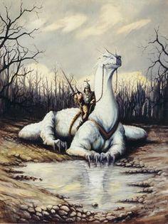 the White Dragon by Wayt Smith...#dragon #fantasy #myth #art #white
