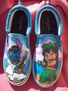SALE Hula Lilo and Elvis Stitch featuring Pleakley, Scrump and Pudge the fish. Custom painted shoes. Any Size Toms, Converse hi tops or Vans. $119.00, via Etsy.
