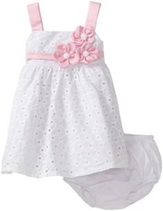 Bonnie Baby Girls Infant Satin Flowers On White Eyelet Empire Waist Dress, White, 24 Months Bonnie Baby, http://www.amazon.com/dp/B006IOEOTK/ref=cm_sw_r_pi_dp_P90arb0TENSA6