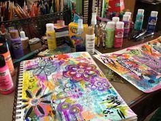 Diane's Mixed Media Art - art journaling with her daughter :)