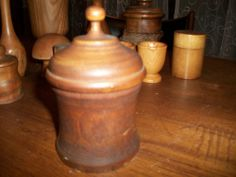 Beautiful 19c Antique Turned Wood Tobacco or Apothecary Jar Treen Fruitwood AAFA