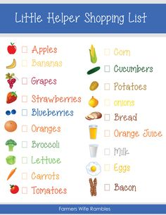 Children Obesity Free Pretend Play Kids Shopping List Printable - Farmer's Wife Rambles - Enjoy this free Pretend Play Kids Shopping List printable to add to your childs pretend play box. Play Grocery Store, Shopping List Grocery, Dramatic Play Area, Dramatic Play Centers, Printable Shopping List, Kindergarten, Play Centre, Pretend Play, Role Play