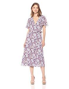 d1eb299268b905 Amazon.com: Ella Moon Women's Rafaela Short Sleeve Wrap Midi Dress with  Ruffle Detail