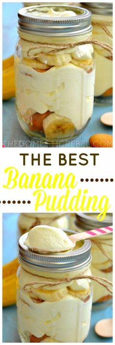 Banana Pudding in a Mason Jar! This Banana Pudding truly is the BEST! Such an easy recipe that yields a creamy, fluffy, out-of-this-world banana pudding you won't want to miss! Mason Jar Desserts, Mason Jar Meals, Köstliche Desserts, Delicious Desserts, Dessert Recipes, Yummy Food, Picnic Desserts, Picnic Recipes, Banana Recipes