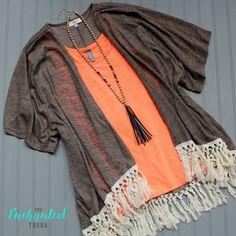 Bethany Wrap S-XL - Mocha Fringe Shawl Kimono Wrap