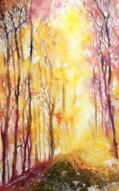 Cristina Dalla Valentina Art: Una Foresta in giallo-  A Forest in yellow - www.cristinadallavalentina.com