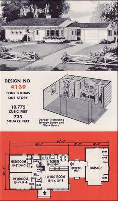 Mid Century Modern House Plans | 1951 Retro Mid Century Modern Plan - Weyerhauser Design No. 4139 ...