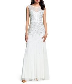 b1e15cdc88f Adrianna Papell Beaded Bodice Illusion Neck Sleeveless Gown