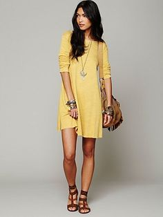 FP Beach Long Sleeve Swing Dress at Free People Clothing Boutique