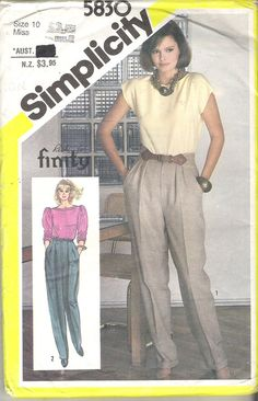 1980's Sewing Pattern  Simplicity 5830 Pleated by jennylouvintage
